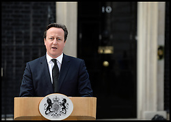 The Prime Minster David Cameron giving his reaction to the death of Former Prime Minister Margaret Thatcher, outside No10 Downing Street, London, UK, Monday April 8, 2013. Photo By Andrew Parsons / i-Images.