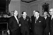 09/02/1965<br /> 02/09/1965<br /> 09 February 1965<br /> Prime Minister of Northern Ireland, Captain Terence O'Neill visits Taoiseach Sean Lemass in Dublin. Picture shows Mr Jack Lynch, Minister for Industry and Commerce; Captain Terence O'Neill; Mr. Frank Aiken Minister for External Affairs and Mr. Sean Lemass after their talks in Dublin at the the Department of External Affairs.