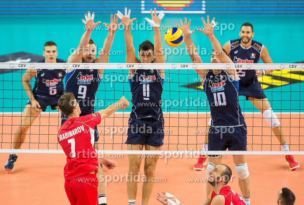Miroslav Gradinarov of Bulgaria vs Ivan Zaytsev of Italy, Simone Buti of Italy and Filippo Lanza of Italy during volleyball match between National teams of Bulgaria and Italy at Third place match of 2015 CEV Volleyball European Championship - Men, on October 18, 2015 in Arena Armeec, Sofia, Bulgaria. Photo by Vid Ponikvar / Sportida