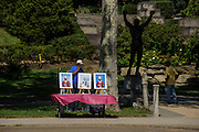Philadelphia, Pennsylvania - September 17, 2015: James Taylor sells Pope photos for $12.99 each or two for $24 by the Rocky Statue at the Philadelphia Museum of Art. Next week, during the Pope's visit, he will sell the photos for $20 each. <br /> <br /> <br /> Scott Mirkin's company ESM is heading the production of The World Meeting Of Families and Pope Francis's visit to Philadelphia this Fall. The events will take place along the Benjamin Franklin Parkway.<br /> <br /> CREDIT: Matt Roth for The New York Times<br /> Assignment ID: 30179397A