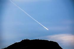Plane trail over Edinburgh.