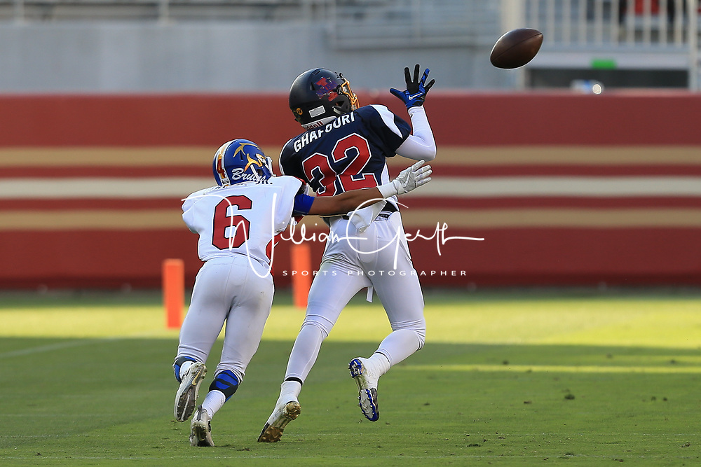 (Photograph by Bill Gerth/ for SVCN/6/24/17) The Kings Academy #32 Dezmond Ghafouri  moves in for the interception in the Charie Wedemeyer All Star Game at Levi Stadium, San Jose CA on 6/24/17. (North 13 South 13)