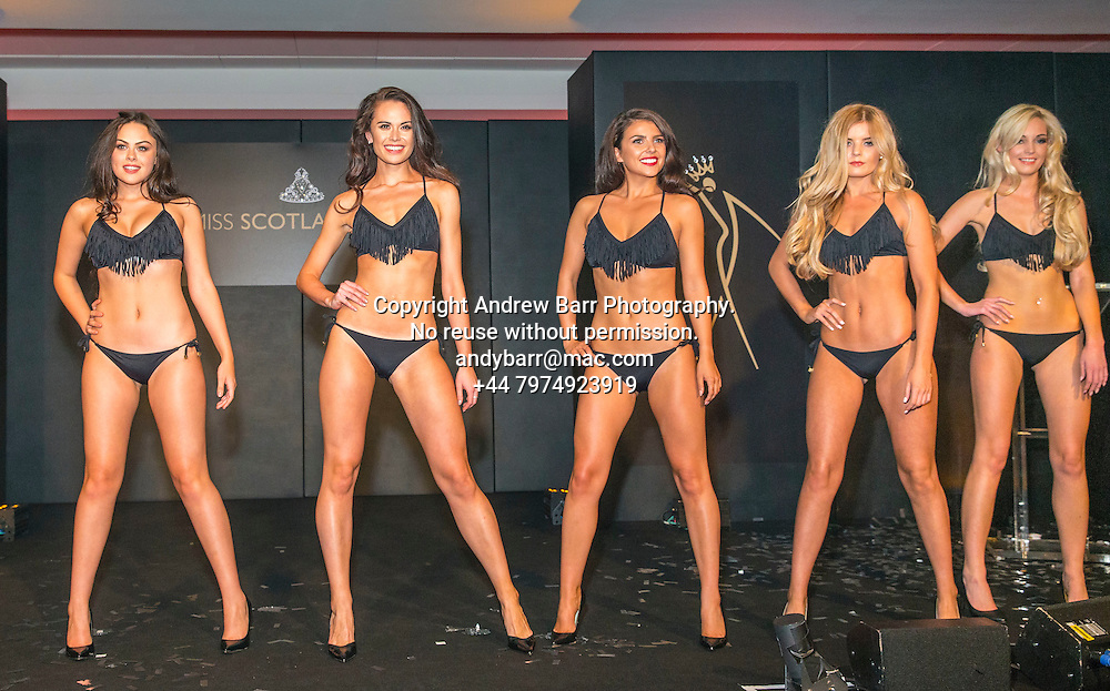 27-08-2015<br /> Miss Scotland 2015 final at Raddison Blu, Glasgow.<br /> <br /> Bikini round - Olivia, Christina, Stephanie, Megan and Tessa.  <br /> <br /> Pic:Andy Barr<br /> <br /> www.andybarr.com<br /> <br /> Copyright Andrew Barr Photography.<br /> No reuse without permission.<br /> andybarr@mac.com<br /> +44 7974923919