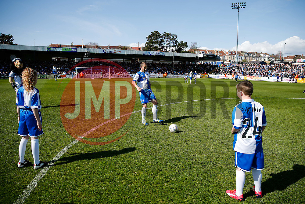 Mascots warm up with Bristol Rovers Lee Mansell - Photo mandatory by-line: Rogan Thomson/JMP - 07966 386802 - 11/04/2015 - SPORT - FOOTBALL - Bristol, England - Memorial Stadium - Bristol Rovers v Southport - Vanarama Conference Premier.