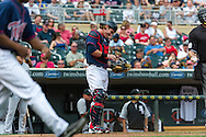 Making his MLB debut, Chris Herrmann #23 of the Minnesota Twins smiles during a game against the Chicago White Sox on September 16, 2012 at Target Field in Minneapolis, Minnesota.  The White Sox defeated the Twins 9 to 2.  Photo: Ben Krause