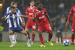 November 6, 2018 - Porto, Porto, Portugal - Bryan Idowu defender of FC Lokomotiv Moscow (R) in action with Porto's Mexican forward Jesus Corona (L) during the UEFA Champions League, match between FC Porto and FC Lokomotiv Moscow, at Dragao Stadium in Porto on November 6, 2018 in Porto, Portugal. (Credit Image: © Dpi/NurPhoto via ZUMA Press)