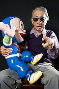 Abiko Moto, better know as manga writer Fujiko Fujio, poses with a model of one of his manga creations, Ninja Hattori-kun, at his offices in Tokyo, Japan on FrIday 26 Feb.  2010.