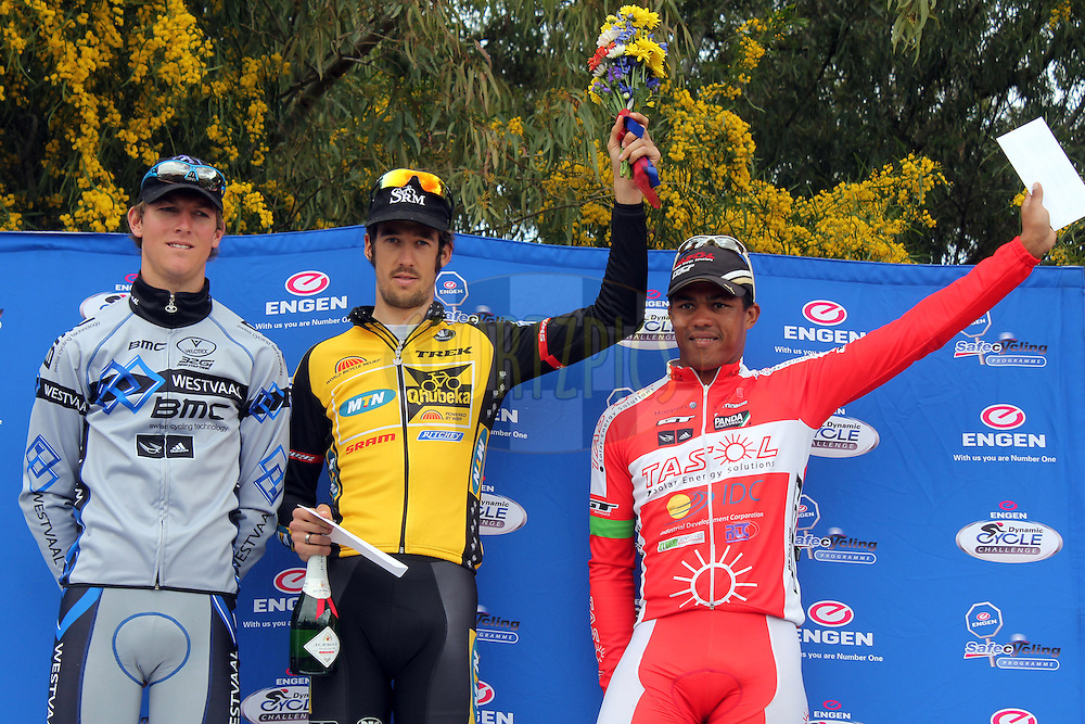 Overall Mens winner Jaco Venter (MTN Qhubeka) with runners-up Dusty Day (Westvaal) and Nolan Hoffman (Tasol) during the Engen Dynamic Cycle Challenge held at the Nelsons Creek Wine Estate in Wellington, South Africa on the 7th October 2012. Photo by Jacques Rossouw/SPORTZPICS
