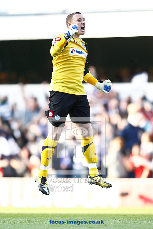 Picture by Andrew Tobin/Focus Images Ltd. 07710 761829. 23/10/11. Paddy Kenny (1) of QPR celebrates their first goal during the Barclays Premier League match between QPR and Chelsea at Loftus Road, London.