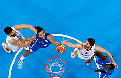 Joakim Noah of France and Florent Pietrus of France vs Marc Gasol of Spain and Pau Gasol of Spain during final basketball game between National basketball teams of Spain and France at FIBA Europe Eurobasket Lithuania 2011, on September 18, 2011, in Arena Zalgirio, Kaunas, Lithuania. Spain defeated France 98-85 and became European Champion 2011, France placed second and Russia third. (Photo by Vid Ponikvar / Sportida)