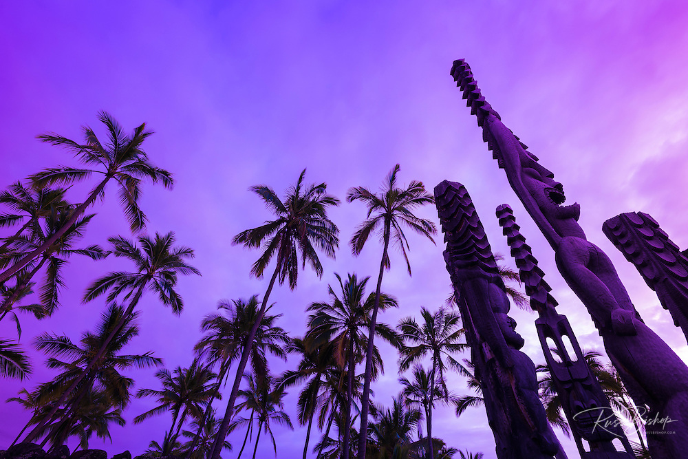 Palm trees and tikis at sunset, Pu'uhonua O Honaunau National Historic Park (City of Refuge), Kona Coast, Hawaii USA