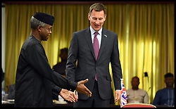 April 30, 2019 - Abuja, Abuja, Nigeria - Image ©Licensed to i-Images Picture Agency. 30/04/2019. Accra, Ghana. Jeremy Hunt Africa Tour Day Three. The Foreign Secretary Jeremy Hunt with the Vice President of Nigeria Yemi Osinbajo.in Abuja,Nigeria, on day three of his six day tour of Africa. (Credit Image: © Andrew Parsons/i-Images via ZUMA Press)