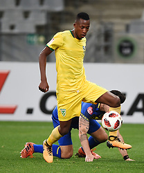 Cape Town-180818 Golden Arrows defender  Devine Lunga challenges Roland Putsche  of  Cape Town City  in a PSL match at Cape Town Stadium .photograph:Phando Jikelo/African News Agency/ANA