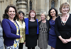Emma Lewell-Buck (centre)  the newly elected Labour MP for South Shields is welcomed by fellow female Labour MP's  at Westminster, Wednesday, 8th May 2013.  Photo by: Stephen Lock / i-Images