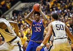 Jan 15, 2018; Morgantown, WV, USA; Kansas Jayhawks center Udoka Azubuike (35) looks to pass during the first half against the West Virginia Mountaineers at WVU Coliseum. Mandatory Credit: Ben Queen-USA TODAY Sports