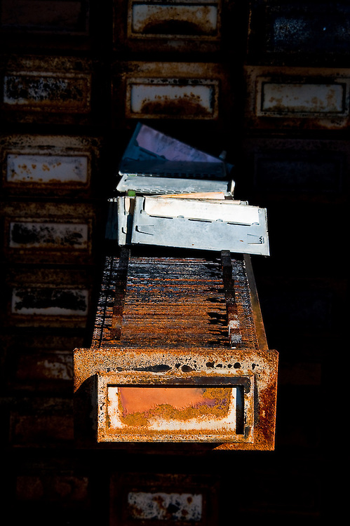 An old record keeping system partially survived fire and abandonment in a former hotel casino on the Nevada California border.