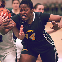 2nd year power forward, Angela Bongomin (14) of the Regina Cougars during the Women's Basketball Home Game on Sat Feb 02 at Centre for Kinesiology,Health and Sport. Credit: Arthur Ward/Arthur Images