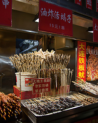 "Night Market, Beijing, China. Night Market, Beijing, China. Starfish on a skewer? Bugs?  Centipedes? Scorpions?  Such ""delicacies"" await brave foodies in some of Beijing's night markets."