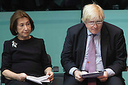 UNITED KINGDOM, London: 26 January 2016 From left to right: Holocaust survivor Hannah Lewis and London Mayor Boris Johnson sit in City Hall during a memorial service to remember victims of the Holocaust this morning. The Mayor of London, Boris Johnson, joined members of the London Assembly as well as Holocaust survivors to mark 71 years since the liberation of Auschwitz-Birkenau and to pay tribute to victims of other subsequent genocides. Rick Findler / Story Picture Agency