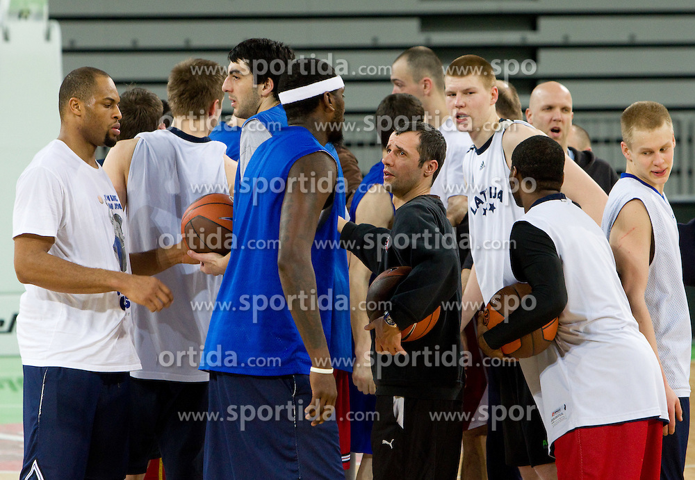Aloysius Anagonye, Giorgi Shermadini, Miro Alilovic, Davis Bertrans, Sasu Salin of Olimpija at practice session of KK Union Olimpija before Euroleague Top 16 basketball match against Lottomatica Virtus Roma, on February 22, 2011 in Arena Stozice, Ljubljana, Slovenia. (Photo By Vid Ponikvar / Sportida.com)