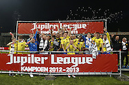 Onderwerp/Subject: Cambuur Leeuwarden - Jupiler League<br /> Reklame:  <br /> Club/Team/Country: <br /> Seizoen/Season: 2012/2013<br /> FOTO/PHOTO: F.L.T.R: Wout DROSTE of Cambuur Leeuwarden and Leon BROEKHOF of Cambuur Leeuwarden and Sicco BOUWER of Cambuur Leeuwarden and Frits DANTUMA of Cambuur Leeuwarden and Goalkeeper Leonard NIENHUIS of Cambuur Leeuwarden and Tim KEURNTJES of Cambuur Leeuwarden and Goalkeeper Rodney UBBERGEN of Cambuur Leeuwarden and Melvin DE LEEUW of Cambuur Leeuwarden and Lucas BIJKER of Cambuur Leeuwarden and Giovanni HIWAT of Cambuur Leeuwarden and Johnny DE VRIES of Cambuur Leeuwarden and Mohamed EL MAKRINI of Cambuur Leeuwarden and Team Manager Rob PROPSMA of Cambuur Leeuwarden and Adnane TIGHADOUINI of Cambuur Leeuwarden and Goalkeeper Trainer Rene GROTENHUIS of Cambuur Leeuwarden and Material Man Siep LIJZENGA of Cambuur Leeuwarden celebrating Jupiler League Championship and promotion to Eredivisie with the Trophy. (Photo by PICS UNITED)<br /> <br /> Trefwoorden/Keywords: <br /> #02 #18 $94 &plusmn;1367598354739<br /> Photo- &amp; Copyrights &copy; PICS UNITED <br /> P.O. Box 7164 - 5605 BE  EINDHOVEN (THE NETHERLANDS) <br /> Phone +31 (0)40 296 28 00 <br /> Fax +31 (0) 40 248 47 43 <br /> http://www.pics-united.com <br /> e-mail : sales@pics-united.com (If you would like to raise any issues regarding any aspects of products / service of PICS UNITED) or <br /> e-mail : sales@pics-united.com   <br /> <br /> ATTENTIE: <br /> Publicatie ook bij aanbieding door derden is slechts toegestaan na verkregen toestemming van Pics United. <br /> VOLLEDIGE NAAMSVERMELDING IS VERPLICHT! (&copy; PICS UNITED/Naam Fotograaf, zie veld 4 van de bestandsinfo 'credits') <br /> ATTENTION:  <br /> &copy; Pics United. Reproduction/publication of this photo by any parties is only permitted after authorisation is sought and obtained from  PICS UNITED- THE NETHERLANDS