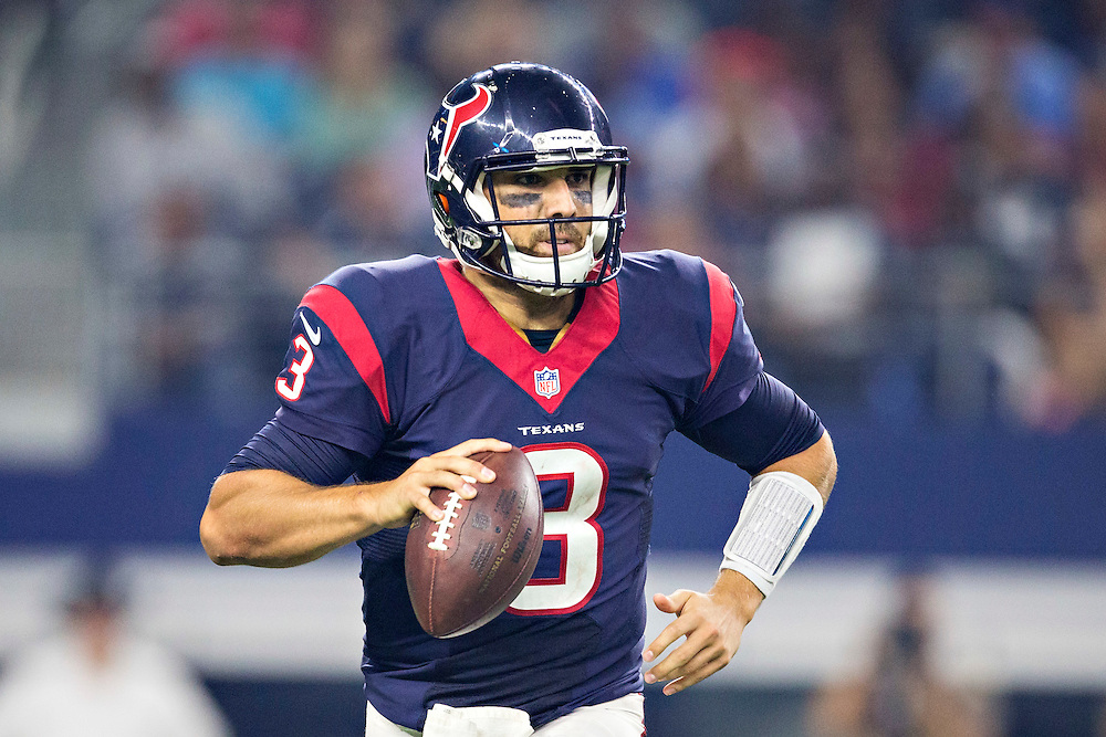 ARLINGTON, TX - SEPTEMBER 3:  Tom Savage #3 of the Houston Texans rolls out to pass during a preseason game against the Dallas Cowboys at AT&T Stadium on September 3, 2015 in Arlington, Texas.  The Cowboys defeated the Texans 21-14.  (Photo by Wesley Hitt/Getty Images) *** Local Caption *** Tom Savage