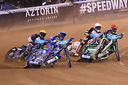Bartosz Zmarzlik battles for the lead during the 2019 Adrian Flux British FIM Speedway Grand Prix at the Principality Stadium, Cardiff, Wales on 21 September 2019.