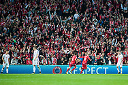 01.09.2017. Copenhagen, Denmark. <br /> Nicolai Jorgensen (9) of Denmark celebrates scoring the third goal during the FIFA 2018 World Cup Qualifier between Denmark and Poland at Parken Stadion.<br /> Photo: © Ricardo Ramirez.