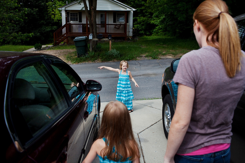 Karen Kudro and her daughters, Hayley, 6, and Aubrey, 4, in Waynesboro, Virginia on Wednesday, June 15, 2011. Hayley, then 5, was diagnosed with a softball-sized mass near her liver that turned out to be neuroblastoma in September of 2009.