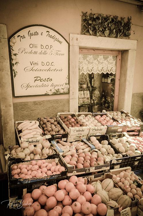 Fruit stand in Riomaggiore, Cinque Terre, Liguria, Italy