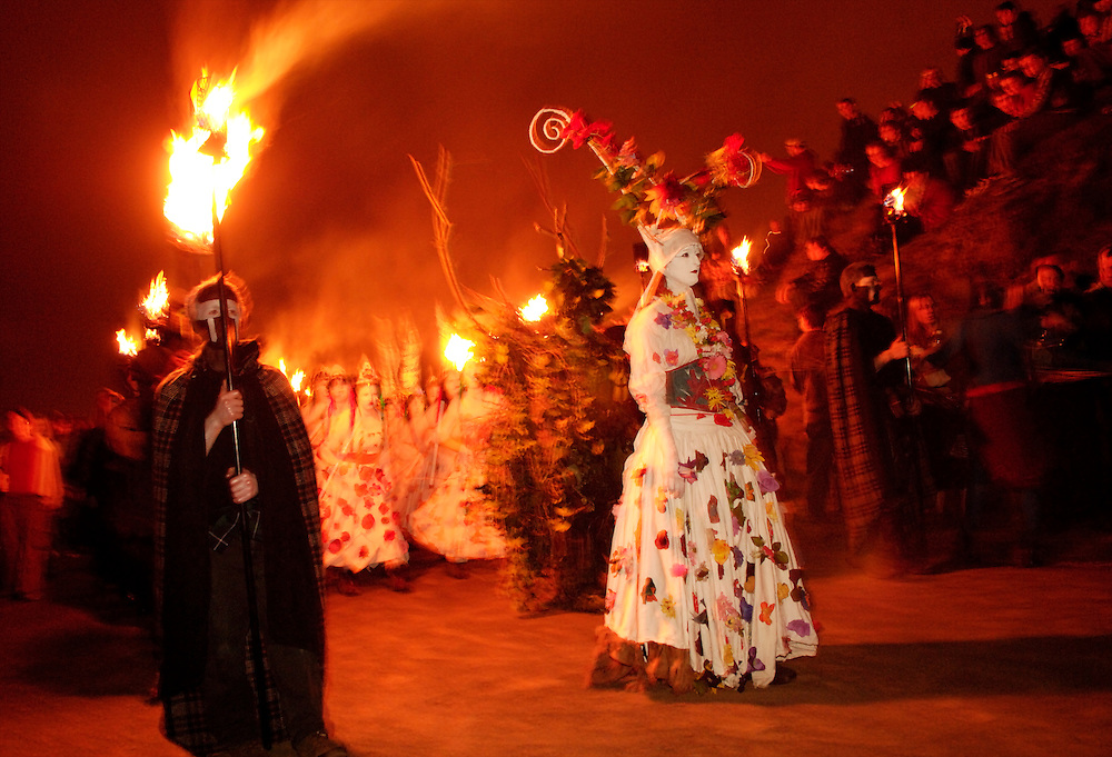 Beltane Fire Festival on Calton Hill in Edinburgh, Scotland.  Event has been going on for years and has grown ever larger, now boasting over 300 performers and 10,000 to 15,000 spectators.