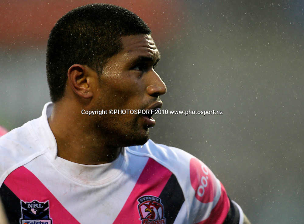 Roosters player Frank-Paul Nuuausala. NRL. Sydney Roosters v Vodafone Warriors, AMI Stadium, Christchurch, New Zealand. Sunday 27th June 2010. Photo: Simon Watts/PHOTOSPORT<br /> *Strictly Editorial Use Only*