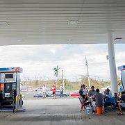 SEPTEMBER 25 - RIO GRANDE, PUERTO RICO - <br /> People wait in line at the Gulf Route 66 gas station for a gasoline tanker scheduled to arrive with fuel sometime today. People have been waiting in line inside cars and on foot with gas canisters since before sunrise and the line of cars extended close to one mile.<br /> (Photo by Angel Valentin for NPR)
