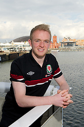 CARDIFF, WALES - Tuesday, March 19, 2013: Wales' Jonathan Williams poses for a portrait outside the St. David's Hotel ahead of the 2014 FIFA World Cup Brazil Qualifying Group A match against Scotland. (Pic by David Rawcliffe/Propaganda)
