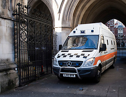 © Licensed to London News Pictures. 07/02/2018. London, UK. A prison van carrying JOHN WORBOYS is seen leaving the High Court in London where two of his victims challenged a decision to release the black cab rapist from prison. London Mayor Sadiq Khan will also urge Sir Brian Leveson and Mr Justice Garnham to allow judicial review action against the Parole Board. Photo credit: Ben Cawthra/LNP