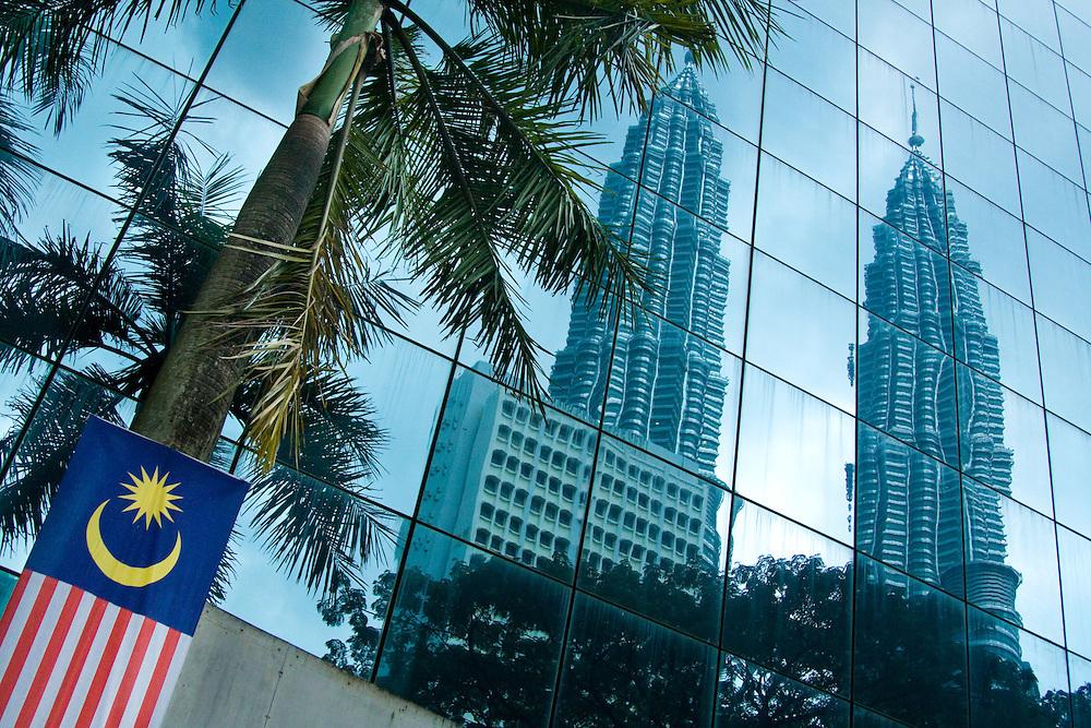 A reflection of the Petronas Twin Towers in Kuala Lumpur, Malaysia