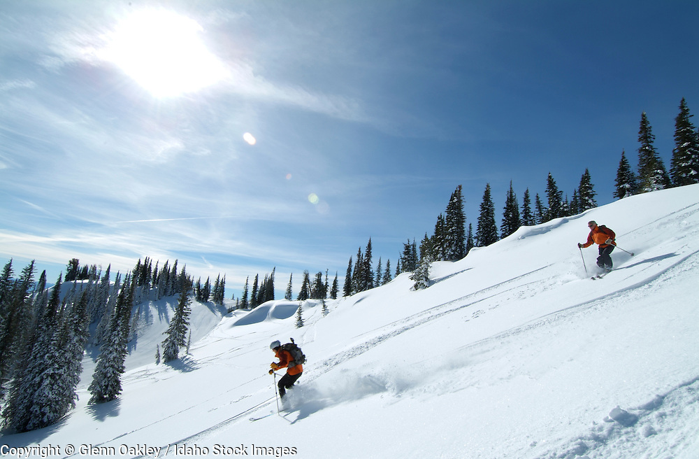 Skiing at Tamarack Ski Resport, West Mountain, above Cascade Lake, Idaho