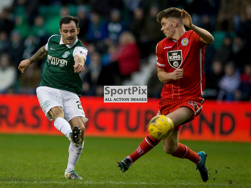Hibernian FC v St Mirren FC <br /> <br /> Chris Dagnall (Hibernian) gets shot away during the SPFL Championship match between Hibernian and St Mirren FC at Easter Road Stadium on Saturday 23 January 2016.<br /> <br /> Picture Alan Rennie.