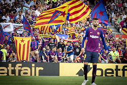 September 2, 2018 - Barcelona, Catalonia, Spain - Barcelona's supporters hold Catalonia's pro-independence flag (estelada) during the spanish league La Liga match between FC Barcelona and SD Huesca at Camp Nou Stadium in Barcelona, Catalonia, Spain on September 02, 2018  (Credit Image: © Miquel Llop/NurPhoto/ZUMA Press)