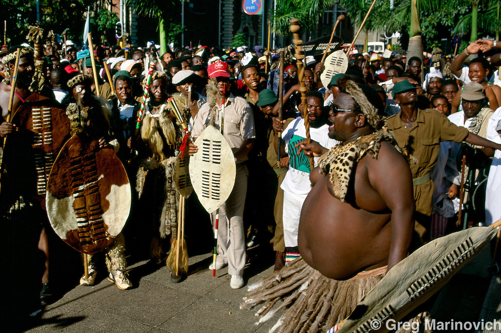 Inkatha Freedom Party supporters in traditional attire at a rally in Durban, South Africa, 1994