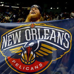 Oct 23, 2013; New Orleans, LA, USA; New Orleans Pelicans fan Briard Snelling in the stands during the second half of a preseason game against the Miami Heat at New Orleans Arena. The Heat defeated the Pelicans 108-95. Mandatory Credit: Derick E. Hingle-USA TODAY Sports