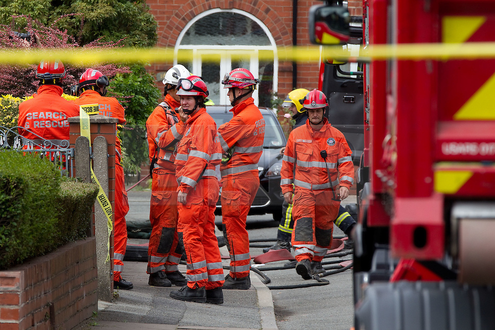 © Licensed to London News Pictures. 29/07/2011. Salford, UK. A light aircraft has crashed in to the side of a house near Barton Aerodrome, in Salford, Greater Manchester. No one was killed. Photo credit : Joel Goodman/LNP