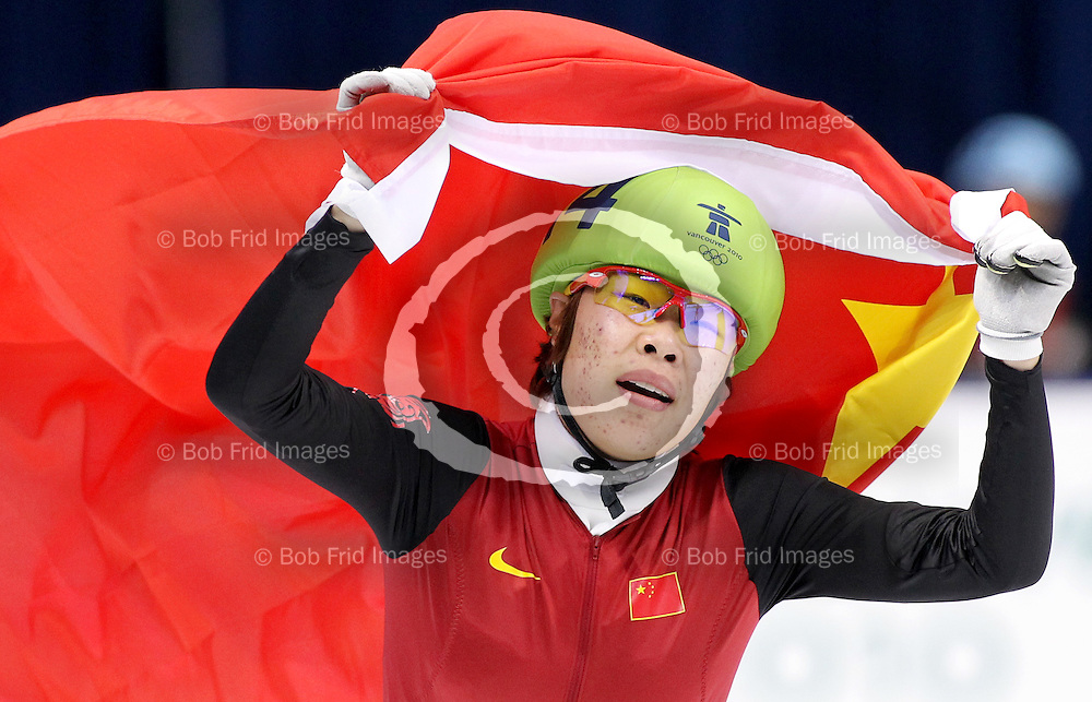 20 February 2010: Yang ZHOU from CHN #114 during Short Track Speed Skating held at the Pacific Coliseum during the Vancouver 2010 Winter Olympics  in Vancouver,  British Columbia, Canada..