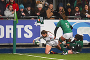 England player Jessica Breach fumbles the ball just before sh grounds it in the first half during the Women's 6 Nations match between Ireland Women and England Women at Energia Park, Dublin, Ireland on 1 February 2019.
