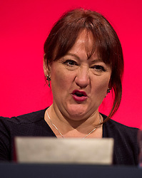 © Licensed to London News Pictures. 29/09/2015. Brighton, UK. Vegan shadow secretary of state for environment, food and rural affairs KERRY MCCARTHY at  Day three of the 2015 Labour Party Conference, held at the Brighton Centre in Brighton, East Sussex. This years conference takes place just weeks after Jeremy Corbyn was elected leader of the party. Photo credit: Ben Cawthra/LNP