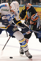 25.02.2010, Eisstadion Liebenau, Graz, AUT, EBEL, Graz 99ers vs KHL Zagreb, im Bild Joel Prpic (29, KHL Zagreb), Warren Norris (10, 99ers), EXPA Pictures © 2010, PhotoCredit: EXPA/ J. Hinterleitner / SPORTIDA PHOTO AGENCY.