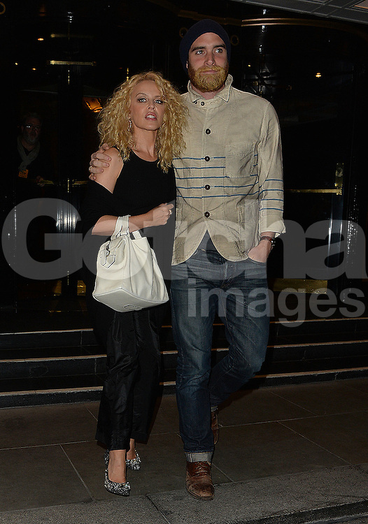 Kylie Minogue and fianc&eacute; Joshua Sasse at the Dorchester Hotel in London, UK. 23/04/2016<br /> BYLINE MUST READ : GOTCHAIMAGES.COM<br /> <br /> Copyright by &copy; Gotcha Images Ltd. All rights reserved.<br /> Usage of this image is conditional upon the acceptance <br /> of Gotcha Images Ltd, terms and conditions available at<br /> www.gotchaimages.com
