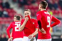 ALKMAAR - 16-02-2017, AZ - Olympique Lyon, AFAS Stadion, teleurstelling, AZ speler Rens van Eijden, AZ speler Wout Weghorst na de 0-2.