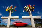 Para de Minas_MG, Brazil.<br /> <br /> Cruzes de mortes na rodovia BR 262 provocadas  por acidente em Para de Minas, Minas Gerais.<br /> <br /> Crosses in the highway BR 262 deaths caused by accident Para de Minas, Minas Gerais.<br /> <br /> Foto: LEO DRUMOND / NITRO