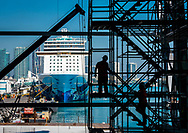 Construction of the new Royal Caribbean cruise ship terminal, at PortMiami.
